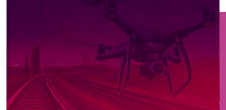 A drone over railway track