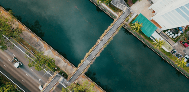 Two roads connected by a bridge